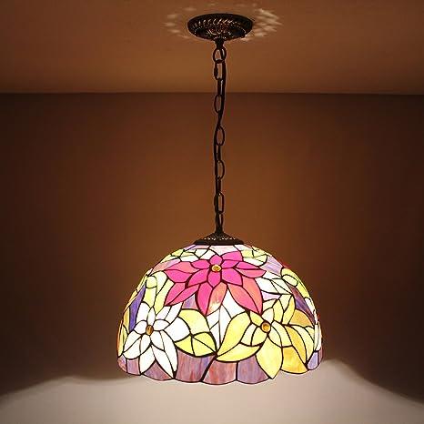 12-Inch Vintage Pastoral rústico Tiffany Flores lámpara de ...