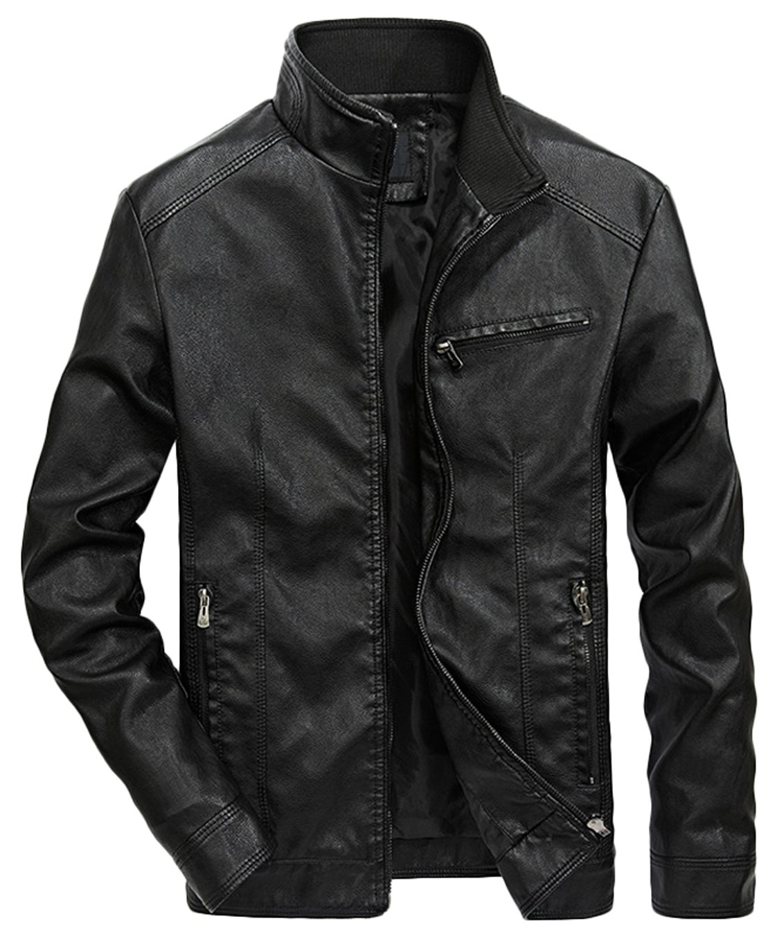 Youhan Men's Casual Full-Zip Retro Fitted PU Faux Leather Jacket (Medium, Black)