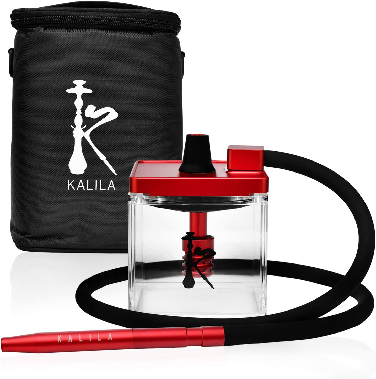 KALILA Shisha prémium para casa o para llevar – Incluye tubo de inmersión + difusor + manguera + boquilla y bolsa para transporte – rojo