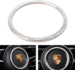iJDMTOY Bling Crystal Silver Chrome Steering Wheel Ring Decor Trim Compatible With Porsche Cayenne Panamera Macan 718 Cayman/Boxster 911 (103mm)