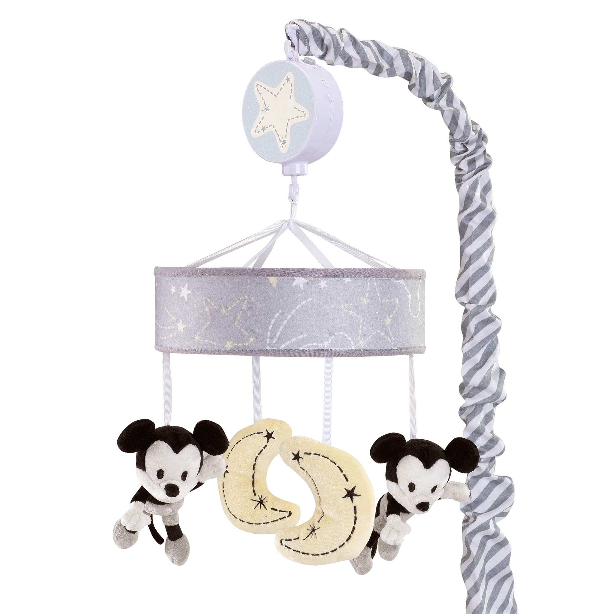 Lamb & Ivy Disney Baby Mickey Mouse Musical Baby Crib Mobile, Gray/Yellow