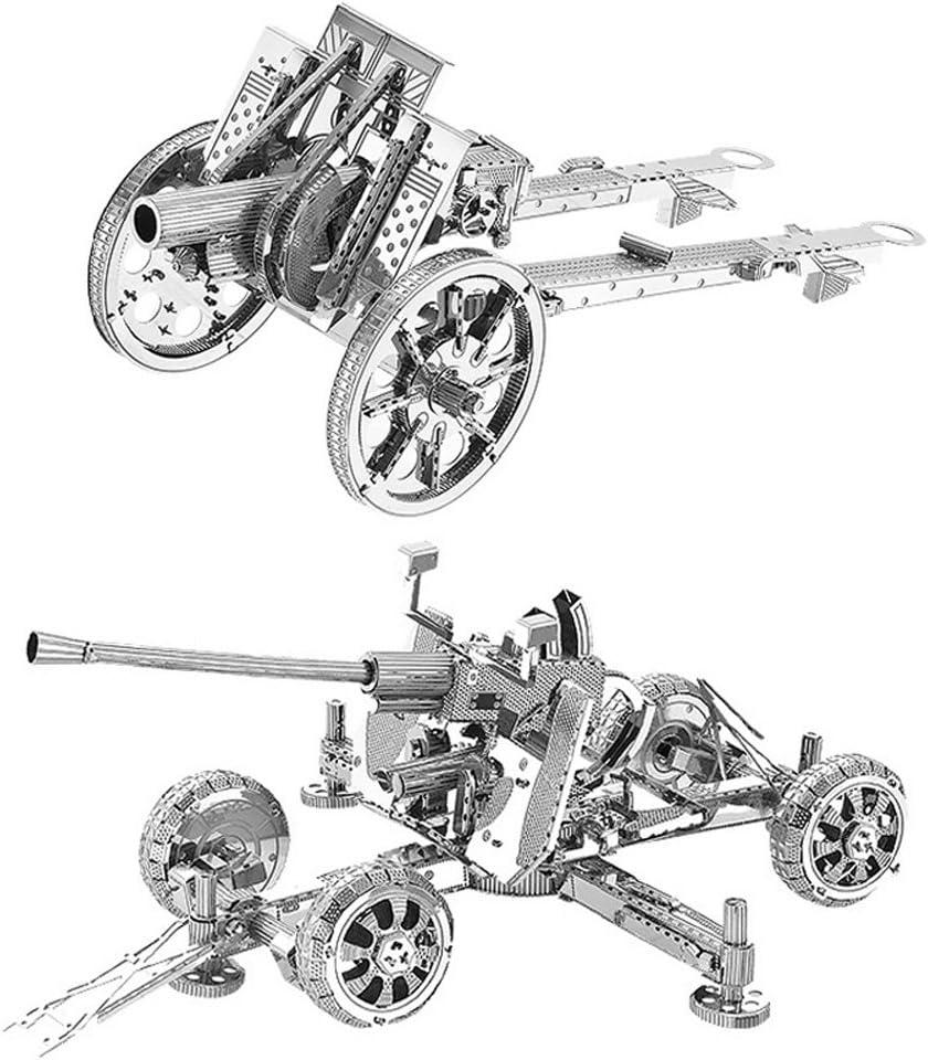 Moutu Juego de 2 piezas de rompecabezas de metal 3D UK Bofors pistola antiaéreo + tipo 92 pistola de infantería modelo kit W21105-06 DIY 3D corte láser montar rompecabezas juguete