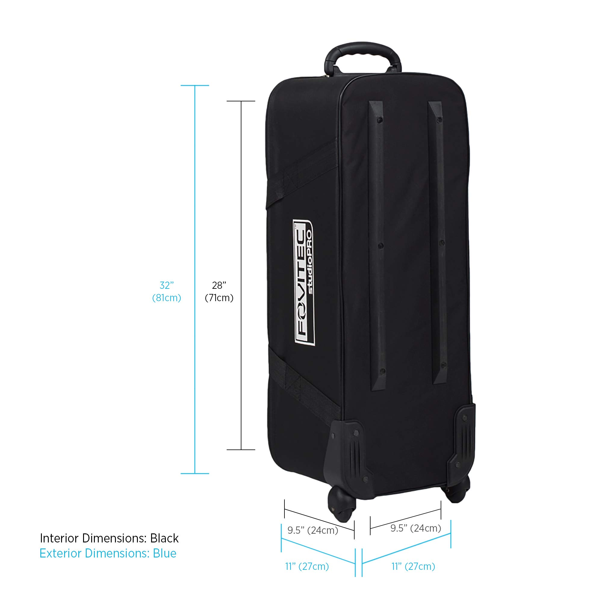 Fovitec - 1x Classic Photography & Video Lighting Equipment Roller Bag - [32'' x 11''x 11''][EZ Glide Wheels][Durable Nylon][Fleece Lining] by Fovitec (Image #2)