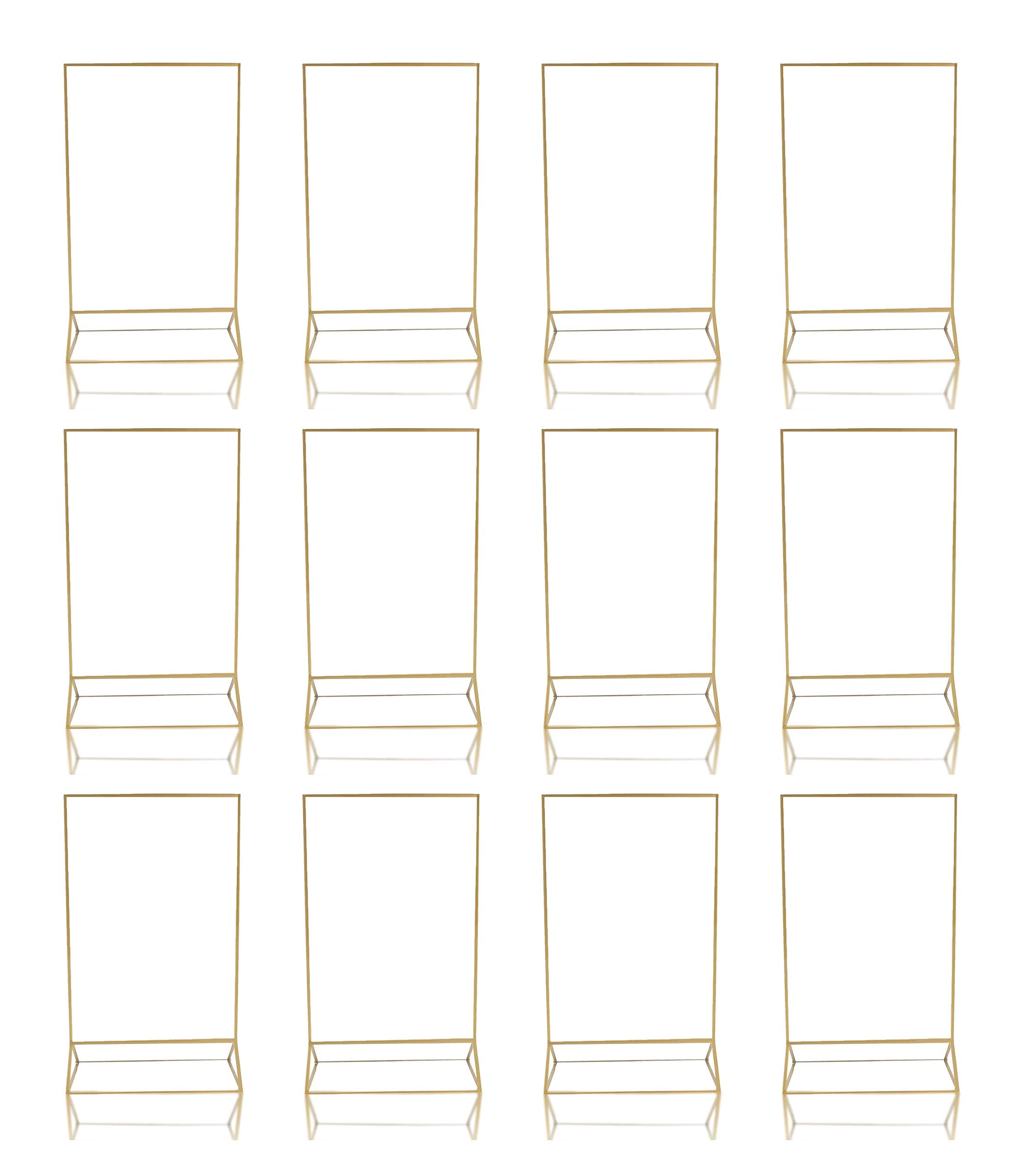 Gold Acrylic Frame Picture Table Holder | Ideal for Double Sided Sign, Clear Photo Holders, Menu Set, Art Display, Wedding Number Stand Decor, Set of 12 5' x 7 inch Frames