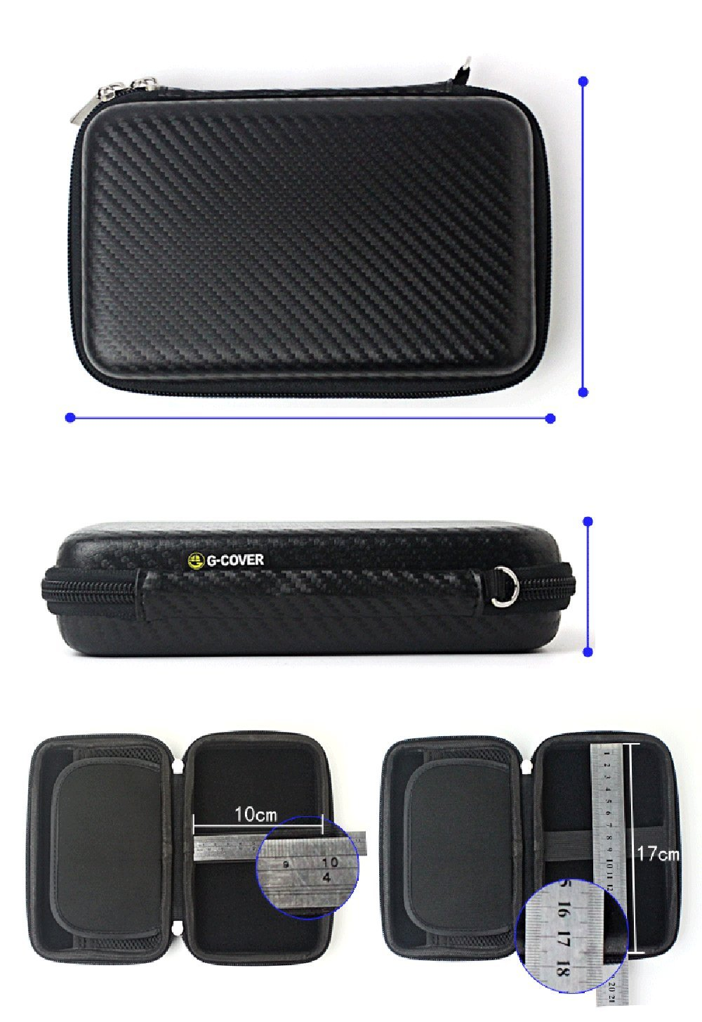 Chihom Travel Wallet Electronics Organizer, Portable Waterproof Hard Carrying Case Universal Electric Accessories Hand Bag for Various USB, Phone, Charger and Cable, Black by Chihom (Image #4)