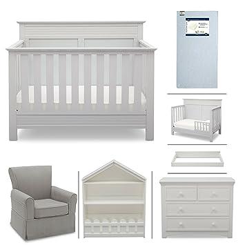Amazon.com : Crib Furniture - 7 Piece Nursery Set with Crib Mattress ...