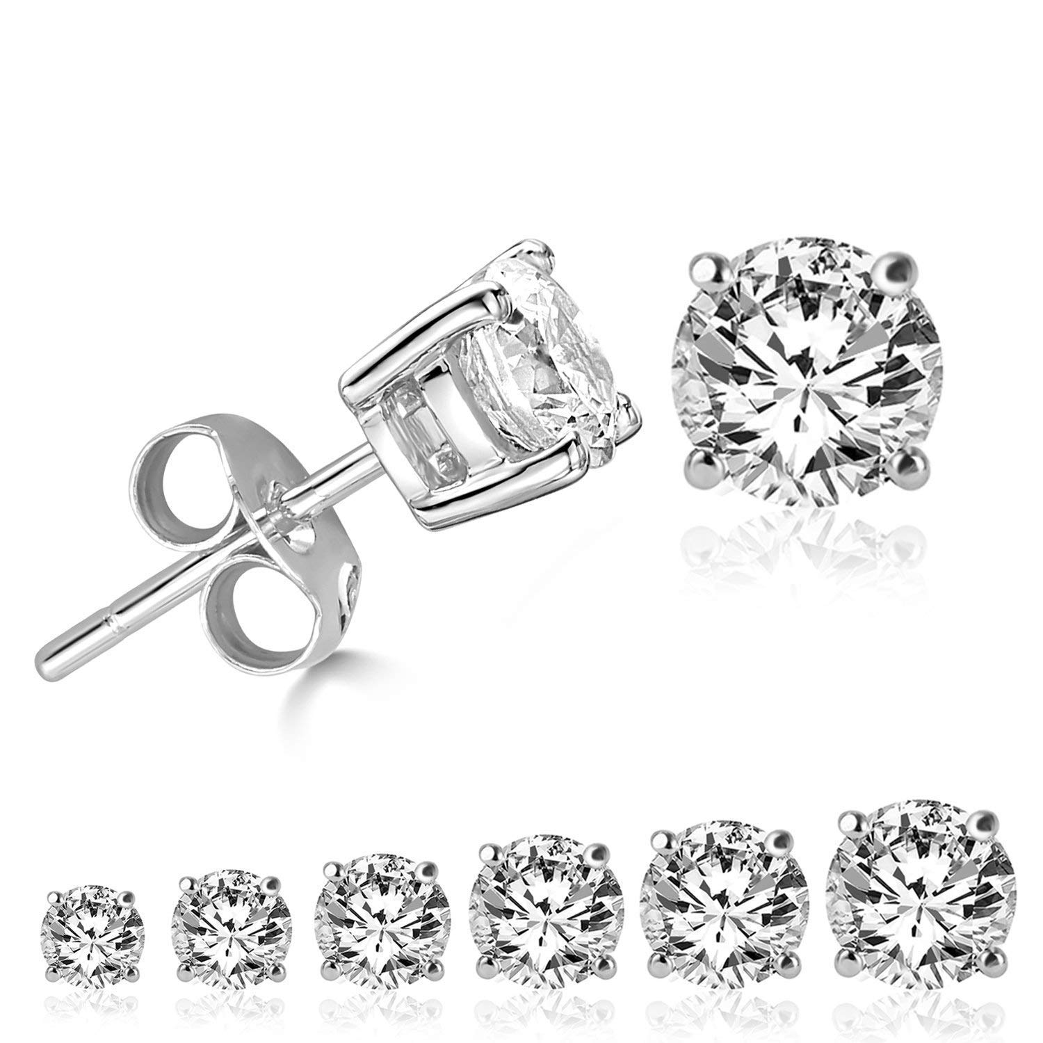 LIEBLICH Women's Round Cut Cubic Zirconia Stainless Steel Earrings Studs Plated White Gold, 3 mm - 8 mm, 6 Piece