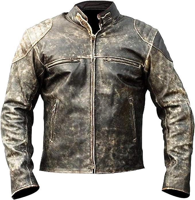 Men's Antique Vintage Distressed Retro Jungle Cafe Racer Leather Jacket Motorcycle Real Leather Biker Jacket