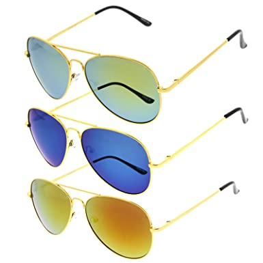 zeroUV - Classic Metal Teardrop Color Mirror Lens Aviator Sunglasses w   Spring Hinges (Gold 1f430d84c1