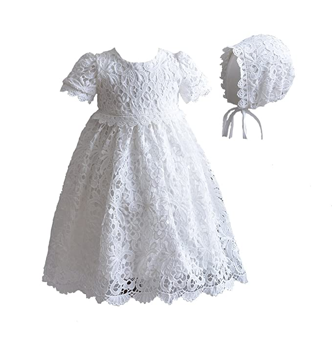 new product 61a08 f3e82 Cinda Abito da Battesimo in Pizzo Baby con Cuffia