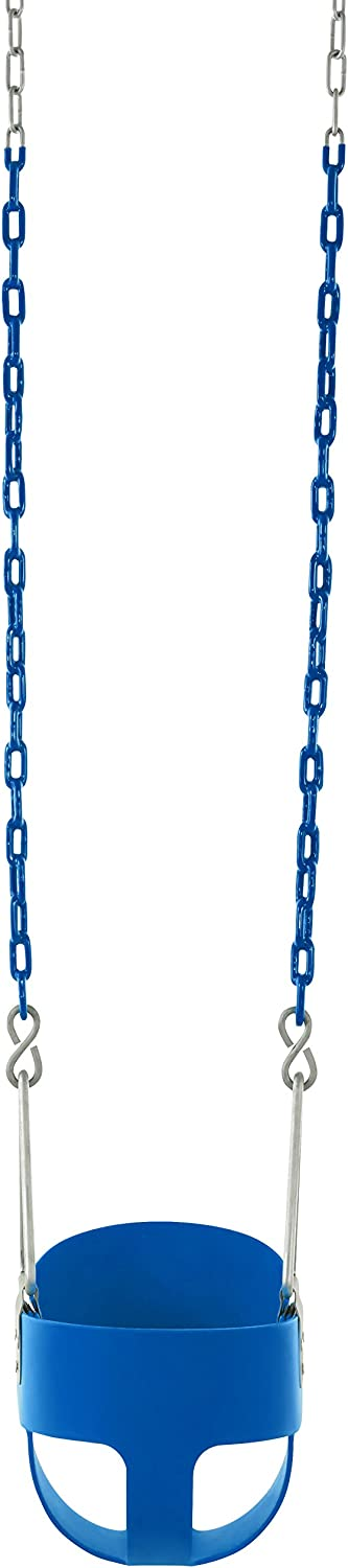 Fully Assembled Swingan High Back Full Bucket Toddler /& Baby Swing with Vinyl Coated Chain