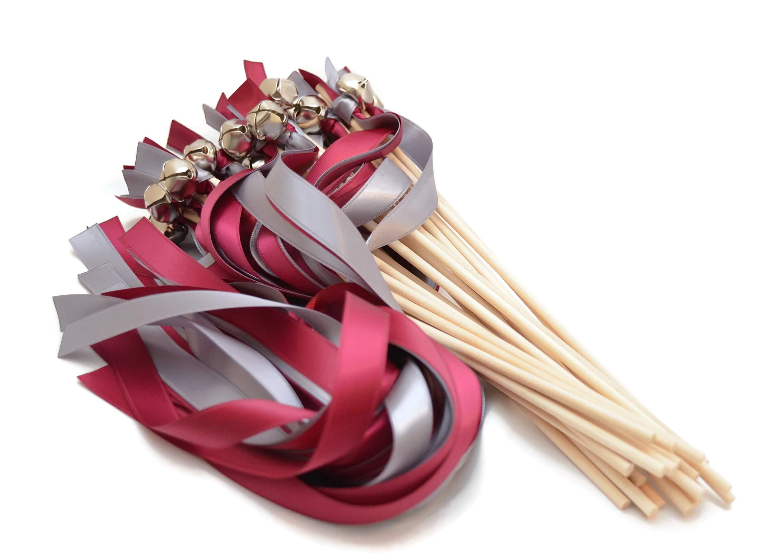 100 Wine & Mercury Grey Ribbon Silver Bell Wedding Wands #DivinityBraid #SendOffBells #WeddingWands #Wedding #Favors #CeremonySendOff #Party #KissingBells #RibbonWands by Divinity Braid by ASV Weddings