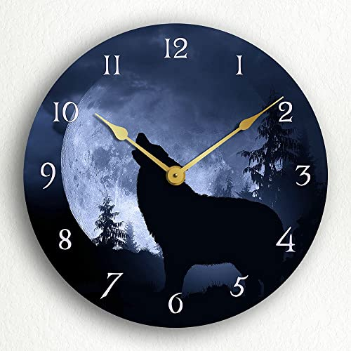 Classical Creations Gray Wolf Howling at The Moon in a Nighttime Forest 12 Silent Wall Clock