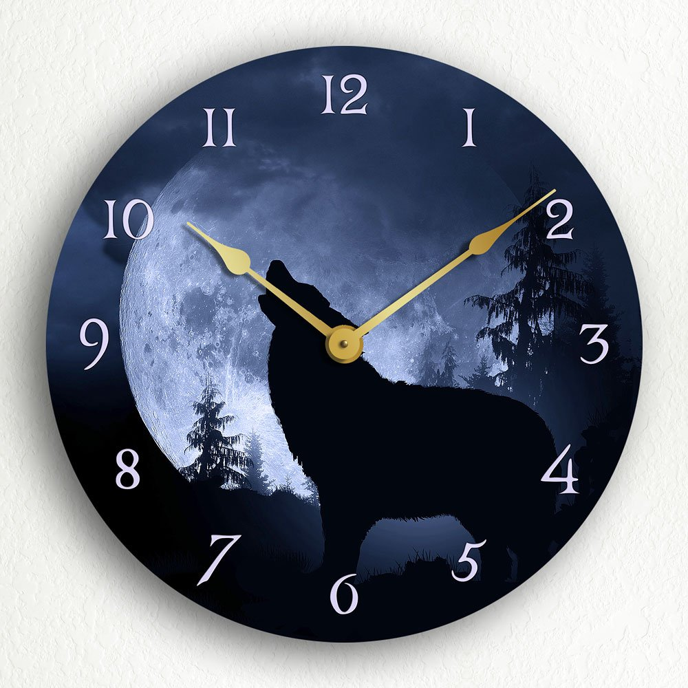 Gray Wolf Howling Silent Wall Clock