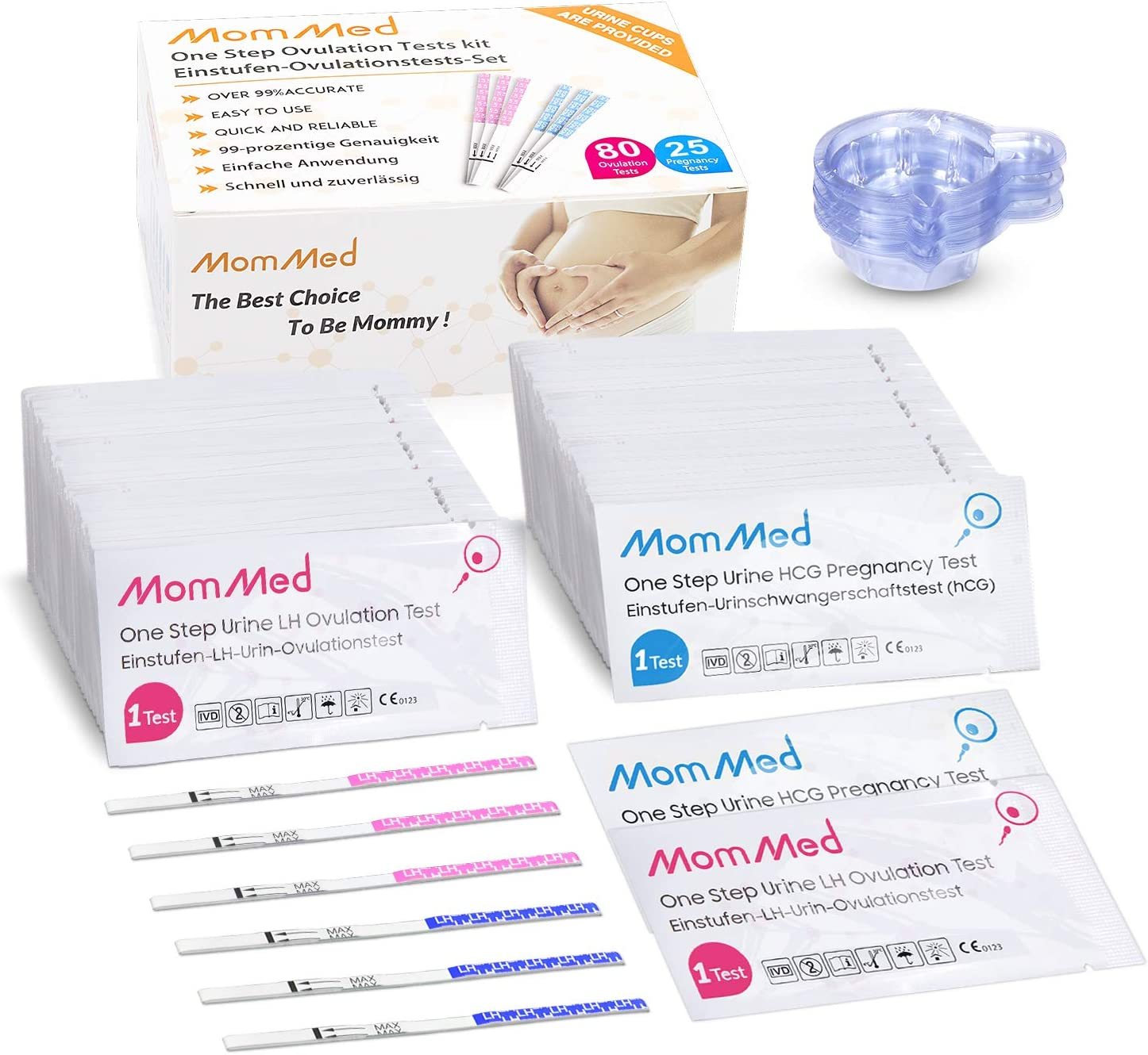 Ovulation Predictor Kit OPK Test Includes 25 Pregnancy Test and 100 Ovulation Test Strips High Accuracy Fertility Test Easy to Use Ovulation and Pregnancy Test Strips with 125 Urine Cups