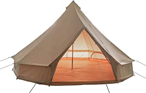 Outop Breathable 4 Season Canvas Bell Tent with Detachable Zipped Groundsheet, Fire Retardant Yurt Tent for Glamping -16.4ft(5M)