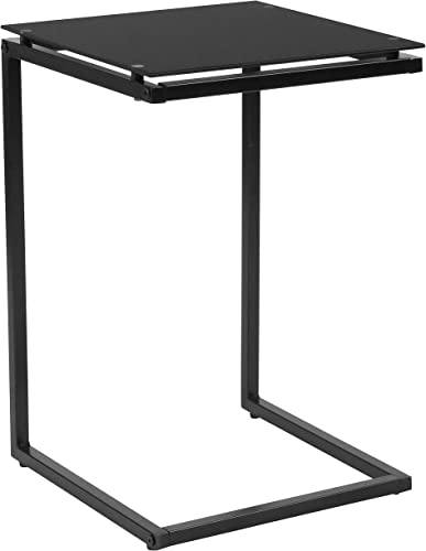 Flash Furniture Burbank Black Glass End Table