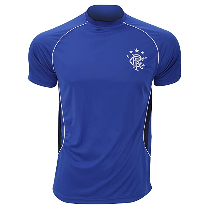Rangers FC Official Mens Blue Panel Soccer Football Crest T-Shirt (X- 9d5326e43