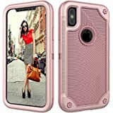 iPhone X Case,Dake 3-Layer Defender Heavy Duty Shockproof Full-body Protective Case for Apple iPhone X 2017 Release Rose Gold