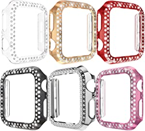 [6-Pack] ALADRS Bling Hard Bumper Frame Compatible with Apple Watch 42mm Case, Shiny Crystal Diamonds Protective Cover for iWatch Series 3/2 / 1 (Black+Rose Pink+Rose Gold+Silver+Clear+Red 42mm)