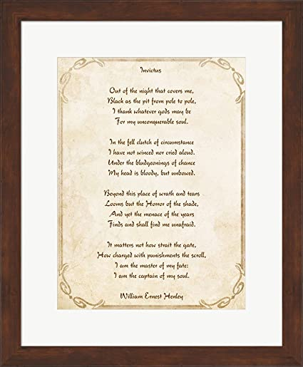Amazon.com: Invictus Poem Framed Art Print Wall Picture, Brown Frame ...