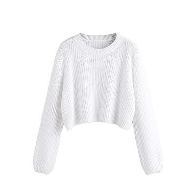 DIDK Mujer Jersey de Punto Blanco Corto Suelto para Mujer: Ropa y accesorios