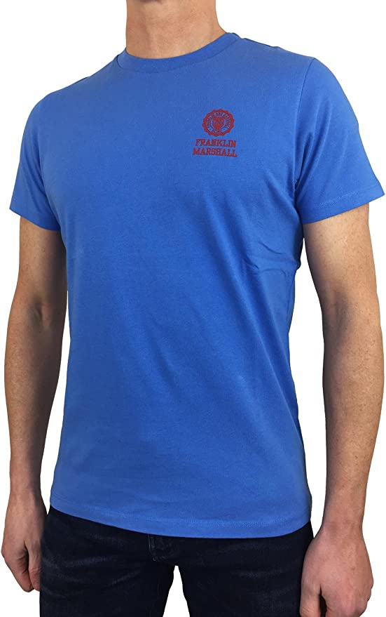 Franklin and Marshall Mens TSMF350ANS18 Round Neck T-Shirt in Navy