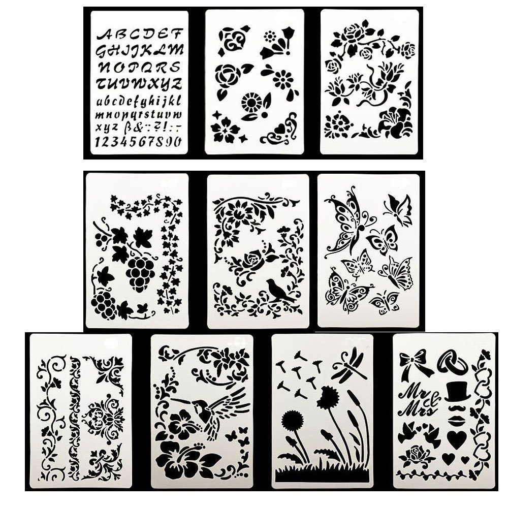 10pcs Drawing Painting Stencils Scale Template sets, Plastic Shapes Stencils Graphics Stencils for Children Creation,Scrapbooking, DIY Albums Accessories LIRANK