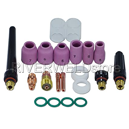 Velidy 49Pcs Tig Welding Torch Stubby Gas Lens #10 Pyrex Glass Cup Kit For Wp-17
