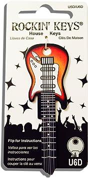 Sunburst con forma de guitarra eléctrica Rockin clave universal ...