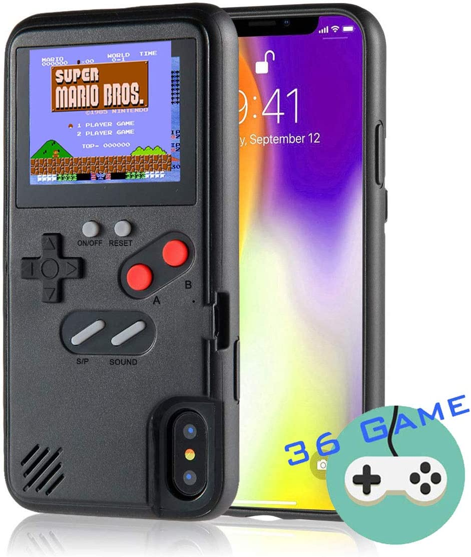 Autbye Gameboy Case for iPhone, Retro 3D Phone Case Game Console with 36 Classic Game, Color Display Shockproof Video Game Phone Case for iPhoneX/XS(Black)