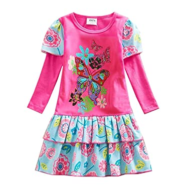 9acb5102 Amazon.com: VIKITA Winter Toddler Girl Clothes Cotton Long Sleeve Girls  Dresses for Kids 2-8 Years: Clothing