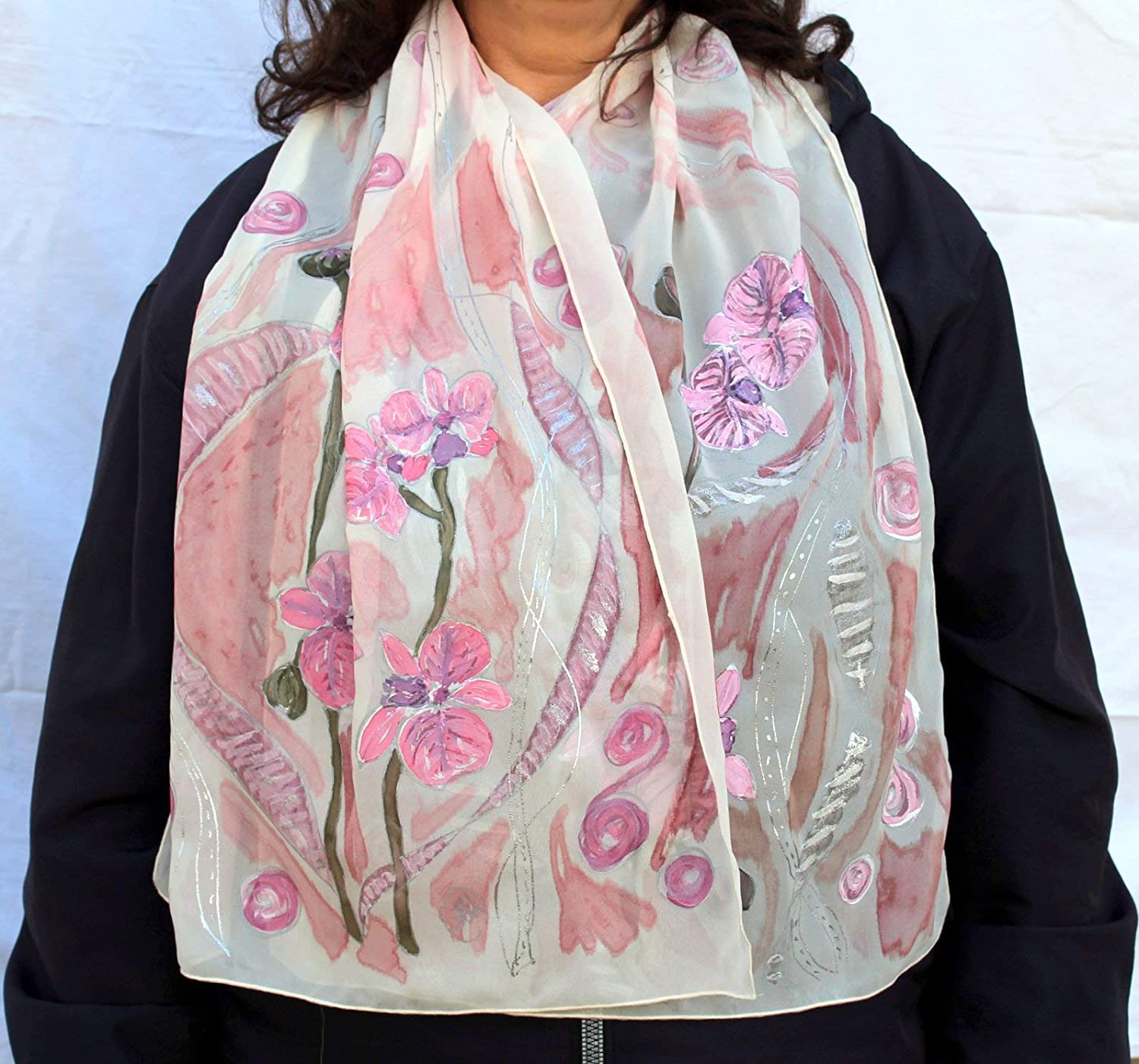 Amazon Com Batik Fashion Silk Painting Ideas Gift For Her Hand Painted Silk Scarf Scarf Gift For Wife Orchids Long Floral Scarf Floral Design Scarf Orchids Scarf Painted Gift Woman White Scarf Handmade