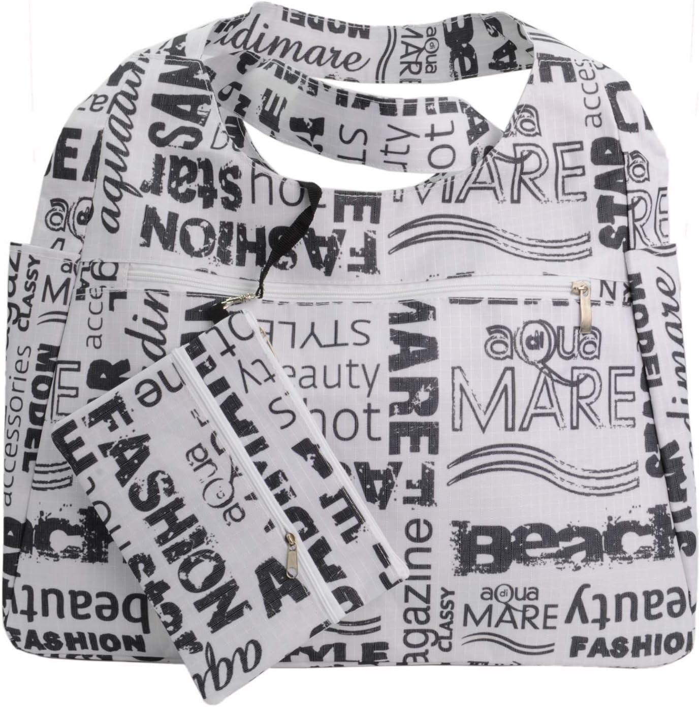 M No Gender Aqua Di Mare Round Beach Bag Printed White