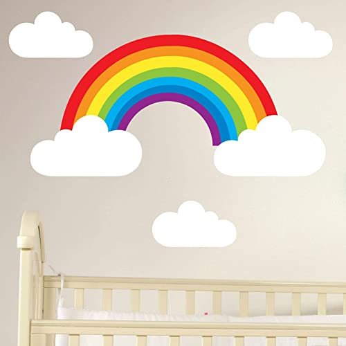 Booizzi Rainbow and Clouds Removable Wall Sticker Set Children's Nursery Decal