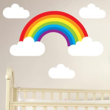 Booizzi rainbow and clouds removable wall sticker set childrens nursery decal