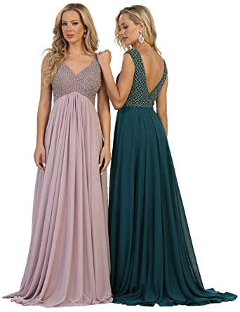 3cf746eca3f Formal Dress Shops Inc FDS7512 Empire Waist Evening Prom Dress at Amazon  Women s Clothing store