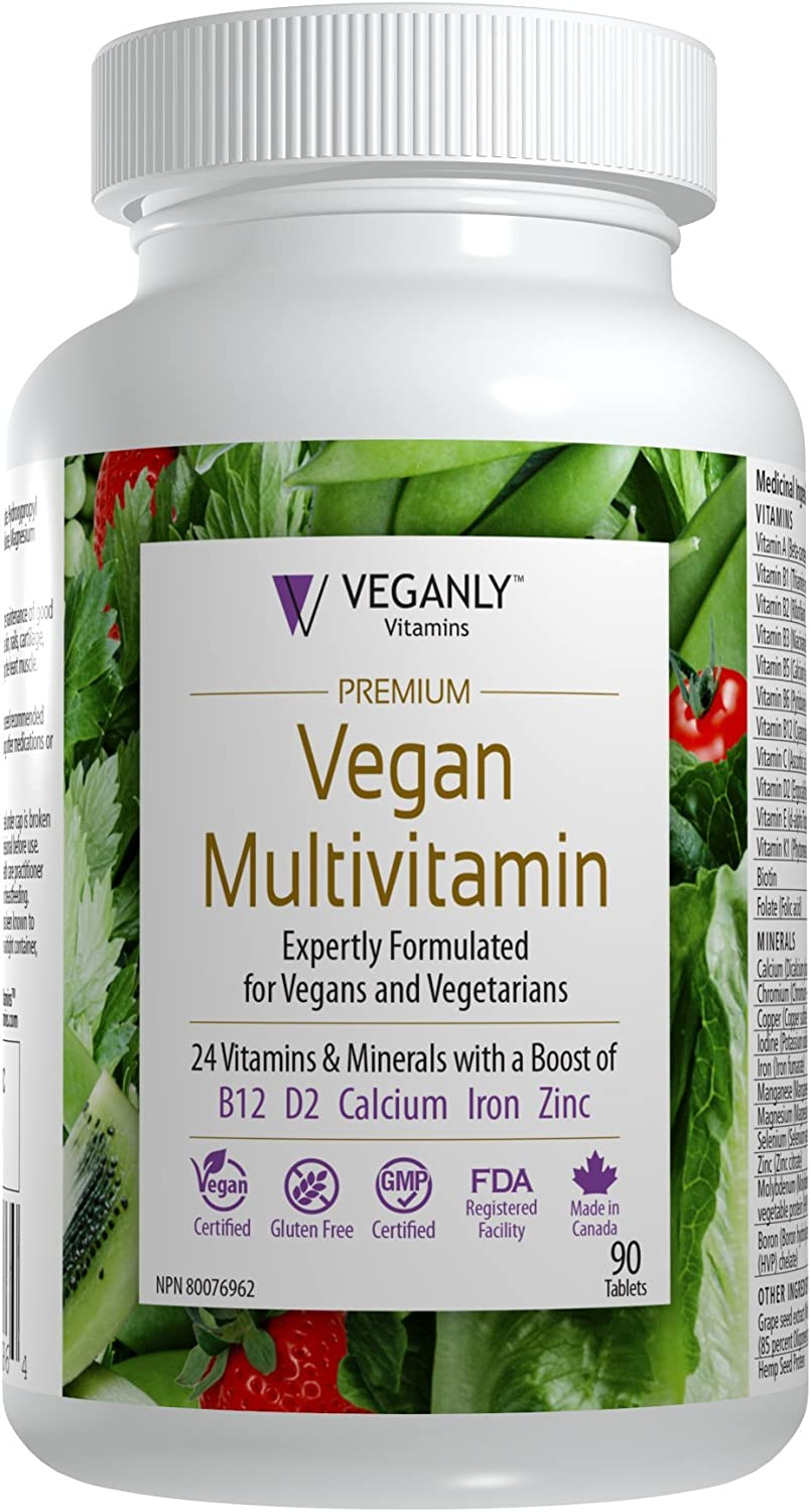 VEGANLY Vitamins- One-a-day Vegan Mutlivitamin with 1000 mcg in B12. 26 naturally-sourced ingredients including Vitamin D, Calcium, Iron, Zinc more 90 veg tabs Certified Vegan, Non GMO, Best Value
