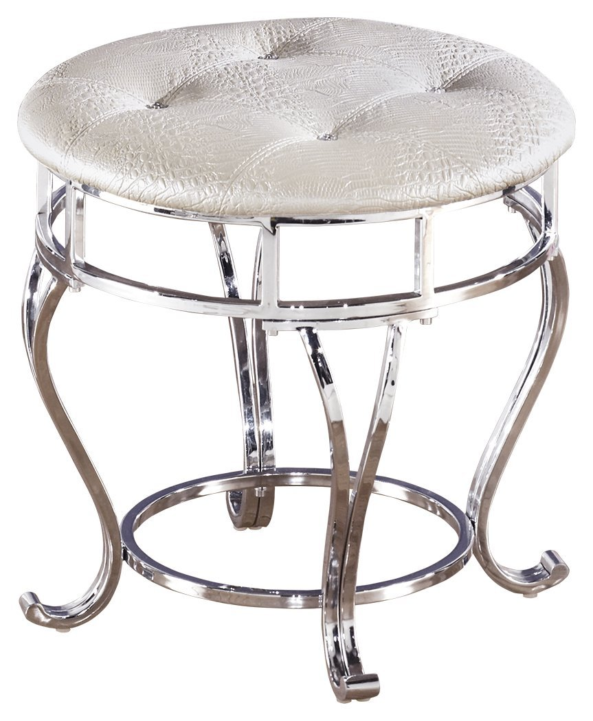 Ashley Furniture Signature Design - Zarollina Vanity Stool - Silver Pearl Base and Upholstered Faux Gator Seat by Signature Design by Ashley