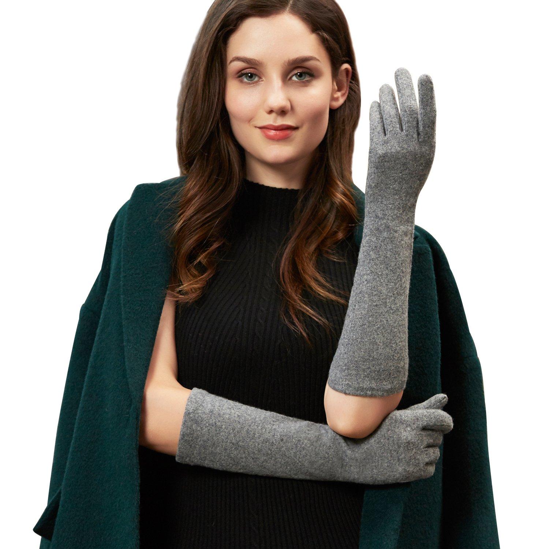 GSG 10.99$ Ladies Touchscreen Wool Gloves Arm Warmers Gloves Mittens Women Long Slim Wedding Dress Accessory Grey