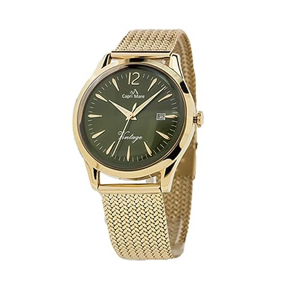 Capri playa Reloj de hombre colección Vintage Acero Gold con caja acero 39 mm de acero Medio/Grandi Verde: Amazon.es: Relojes