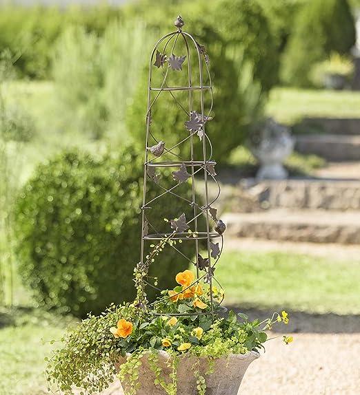 Pájaros y Vine decorativo para jardín enrejado Obelisk para ...