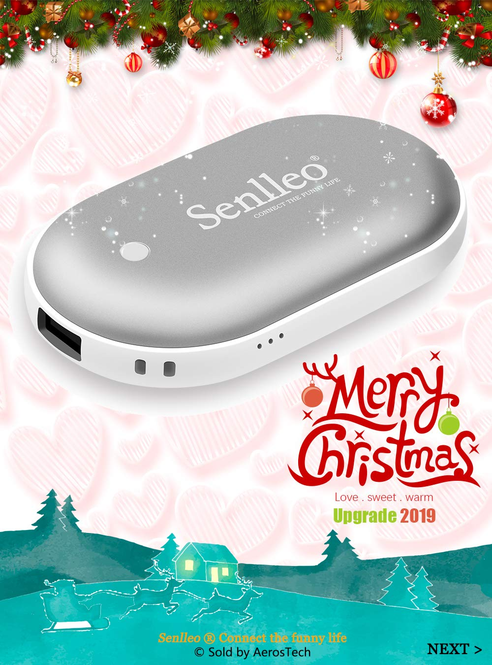 5200mAh Power Bank Larger Capacity and Double-Sided Pocket Warmer Compatible with iPad iPhone Samsung All Android Smartphone External Battery Charger Senlleo Rechargeable Hand Warmer