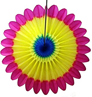 product image for 3-Pack 18 Inch Tissue Paper Fanburst Decoration (Multi - Cerise/Yellow/Blue)