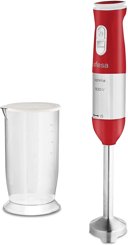 Ufesa Óptima Batidora mano, 800 W, Plástico, 20 Velocidades, Rojo