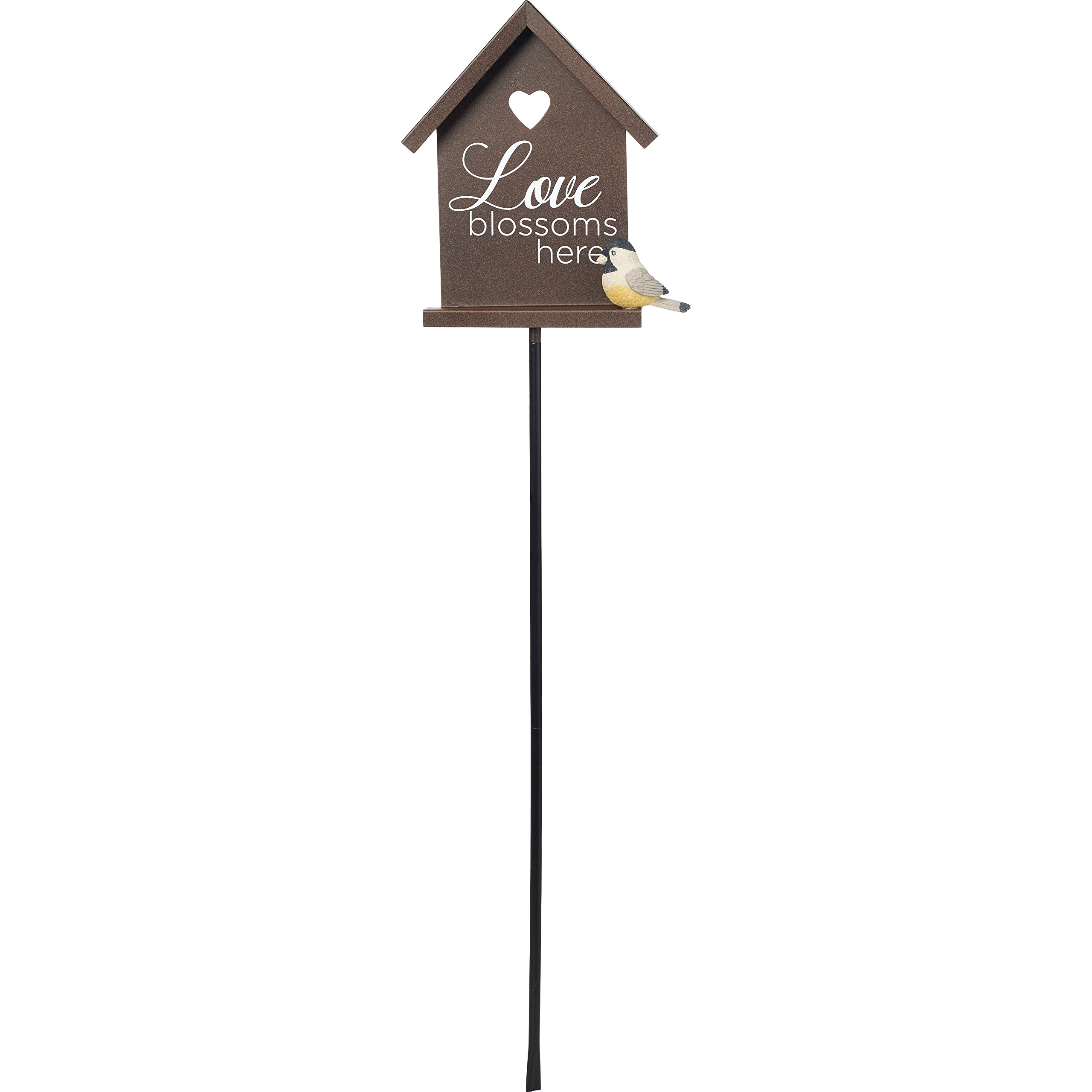 Precious Moments Garden Gifts by 171446 Love Blossoms Here Decorative Metal Garden Stake With Resin Bird Accent Yard Decor, Bronze, 16-inch High