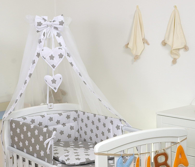PRO COSMO 11 Piezas juego de ropa de cama para cuna de bebé cama edredón, dosel + soporte (120x60cm, 19 Estrellas grises)