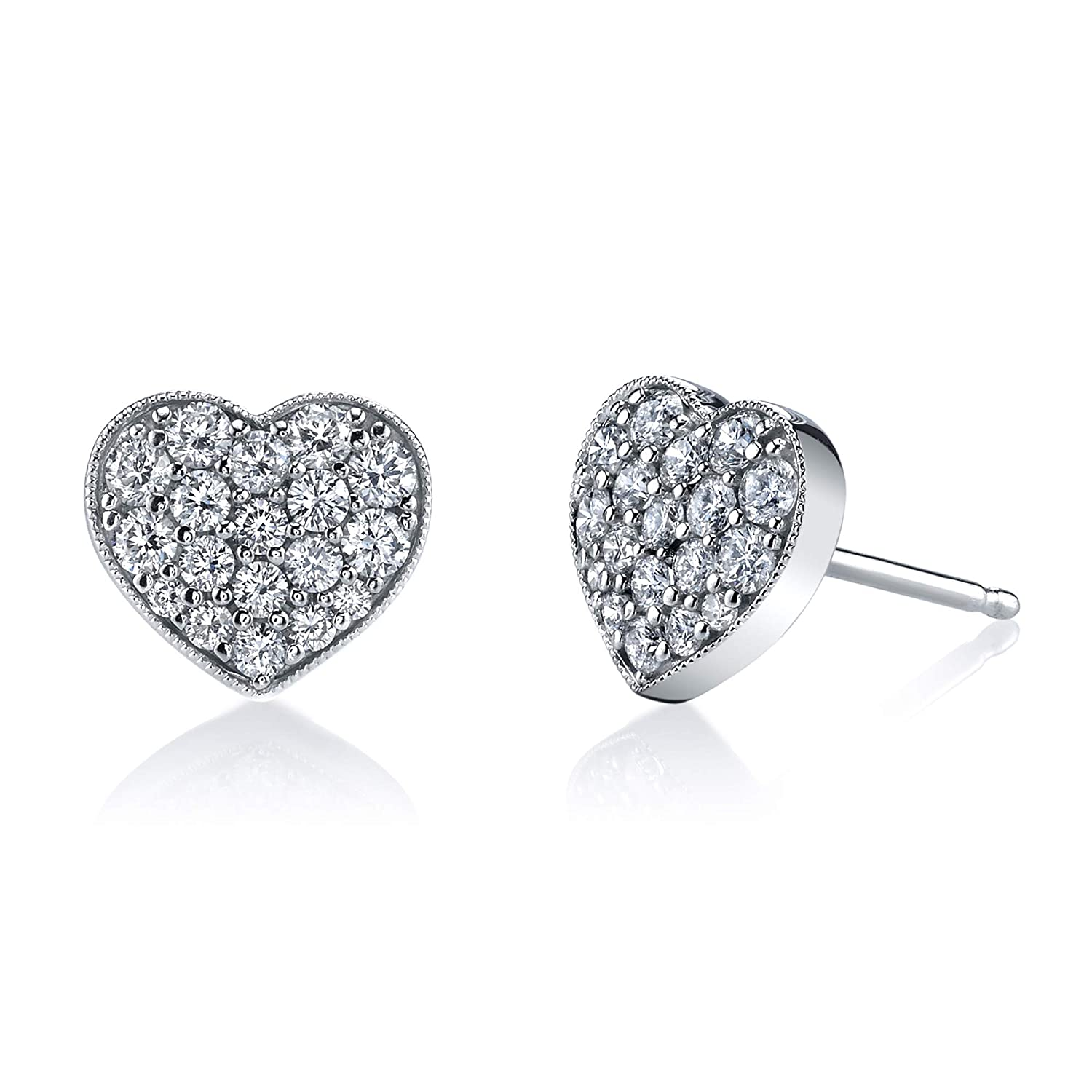 10K White Gold 1//2TCW Real Round Diamond Cluster Heart Shape Stud Earring