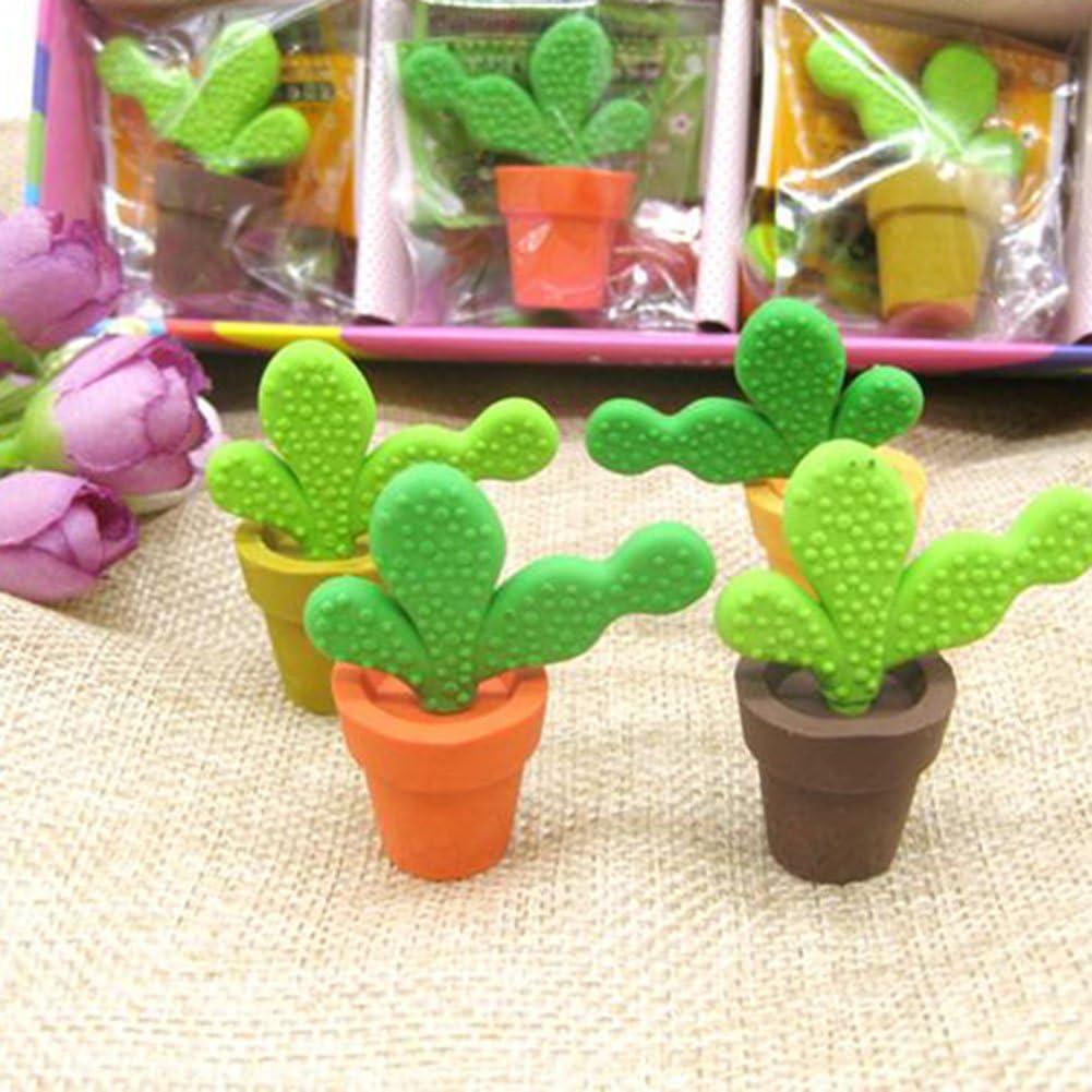 zuf/ällige Farbe Monbedos 100/Radierer Getopfte Kaktus Radiergummi Geschenk f/ür Kinder Schule Stationery Supplies
