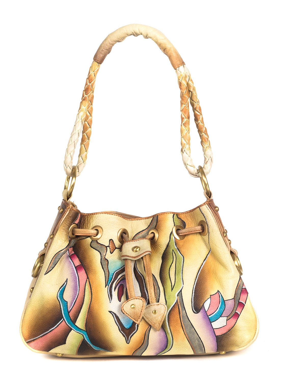 ZIMBELMANN PEGGY Genuine Nappa Leather Hand-painted Hobo Shoulder Bag by Zimbelmann